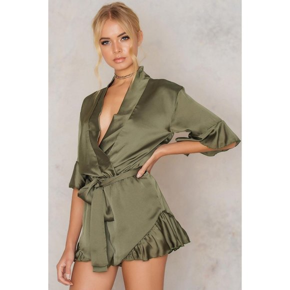 Lioness Meet Me In Como Satin Romper in Olive NWOT
